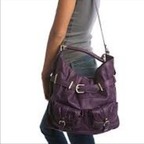 Sabina New York eggplant convertible leather bag